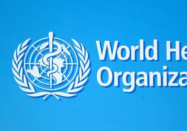 Logo da Organização Mundial da Saúde (OMS), em Genebra, na Suíça.