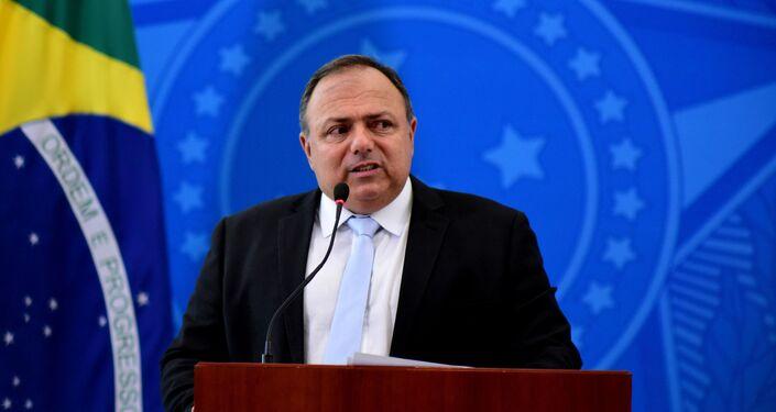 Eduardo Pazuello, ministro da Saúde, faz pronunciamento à imprensa.