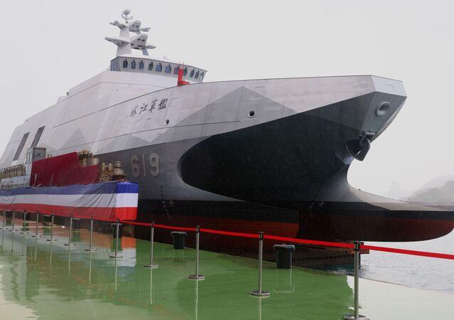 A corveta da classe Tuo Chiang pode ser vista durante a cerimônia oficial em Yilan, Taiwan, 15 de dezembro de 2020