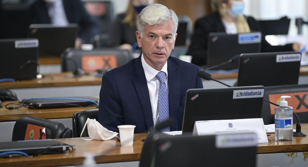 Indicado para a chefia da representação brasileira em Genebra, diplomata Fabio Marzano em pronunciamento à bancada da Comissão de Relações Exteriores e Defesa Nacional (CRE).