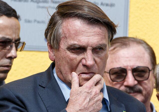 O presidente Jair Bolsonaro (sem partido) realiza visita técnica à Companhia de Entrepostos e Armazéns Gerais de São Paulo (Ceagesp), na Vila Leopoldina, em São Paulo, na tarde desta terça-feira (15)