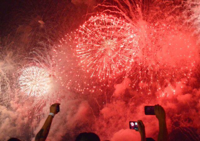 Queima de Fogos na passagem de ano novo, em Copacabana, no Rio
