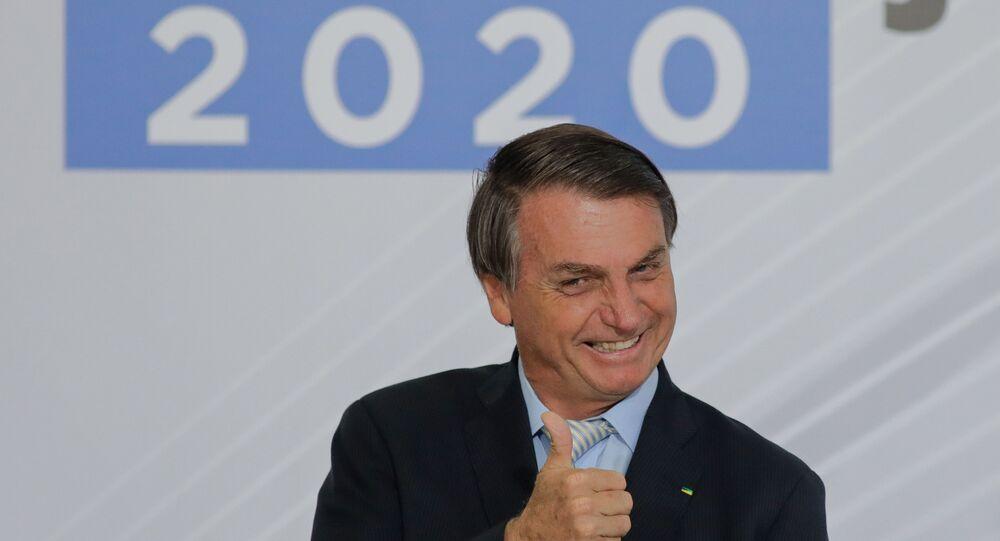 Presidente do Brasil, Jair Bolsonaro durante evento contra corrupção.