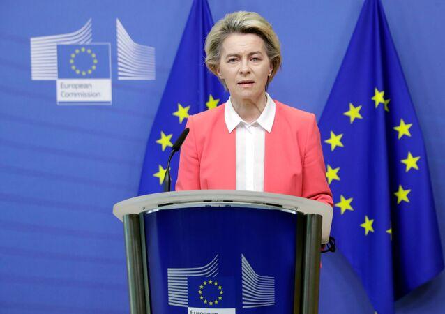Ursula von der Leyen, presidente da Comissão Europeia, durante discurso (arquivo)