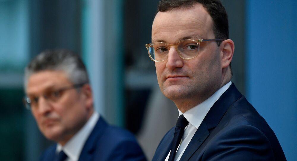 O ministro da Saúde da Alemanha, Jens Spahn, durante coletiva de imprensa.