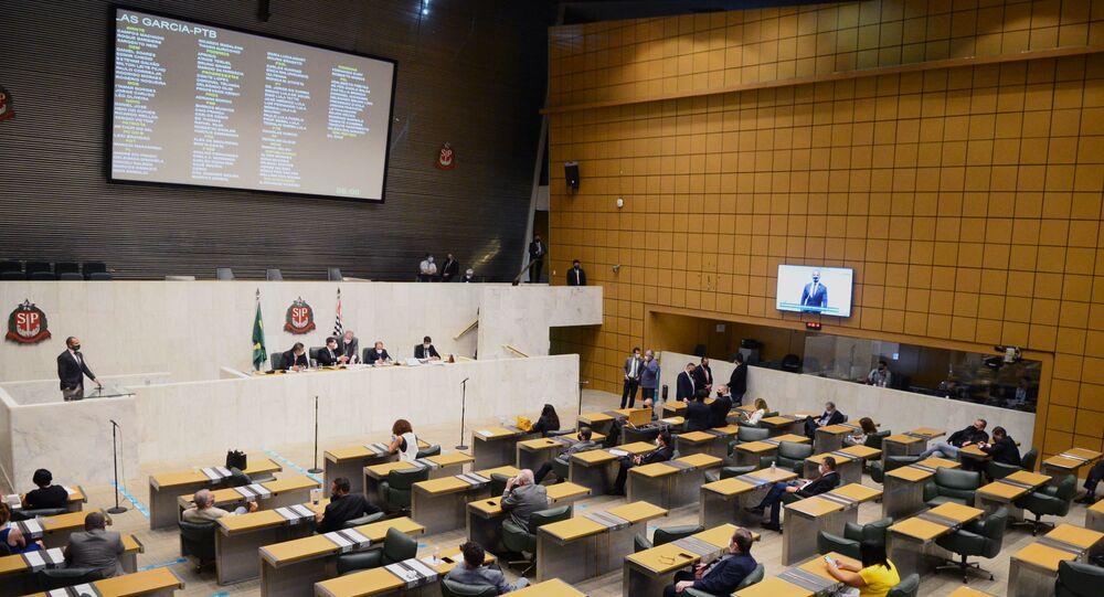 Sessão plenária na Assembleia Legislativa do Estado de São Paulo em 17 de dezembro de 2020