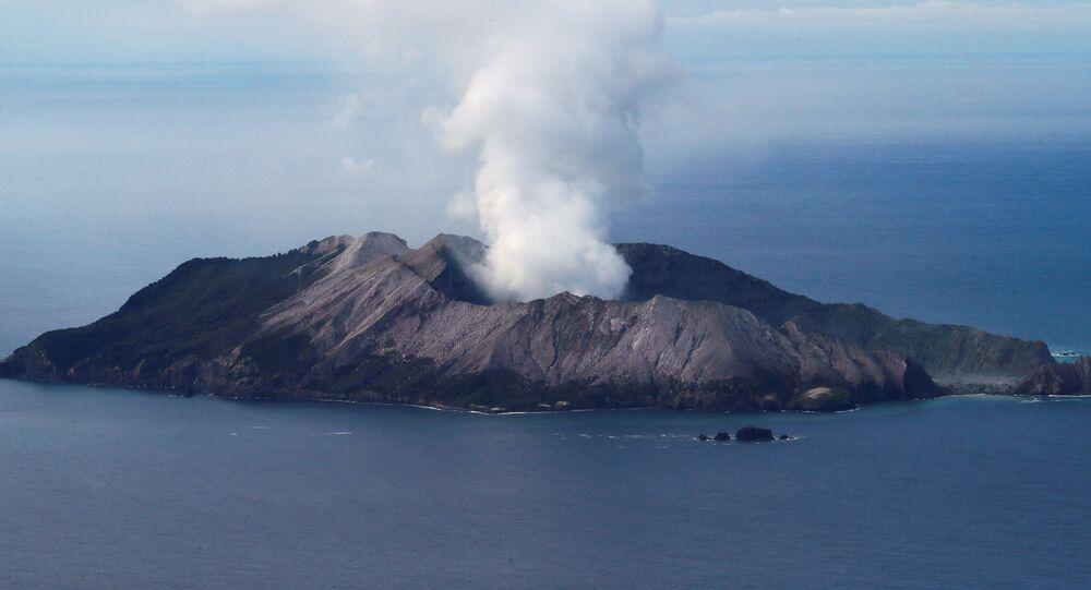 Vista aérea do vulcão Whakaari, na Nova Zelândia