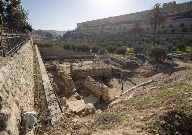 Sítio arqueológico em Jerusalém.