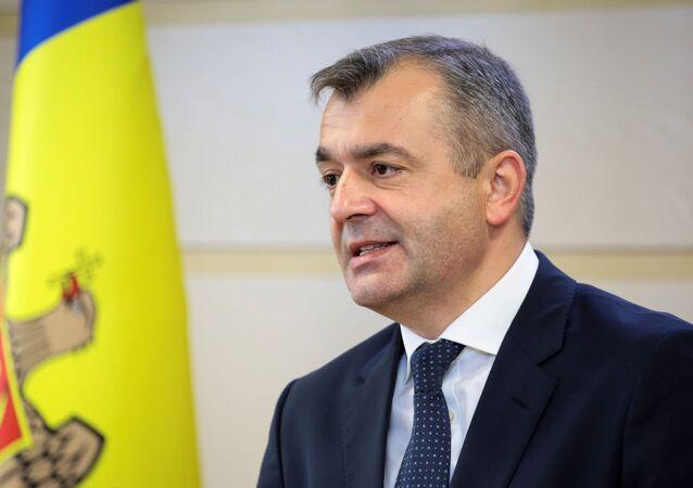Ion Chicu, primeiro-ministro da Moldávia, fala em Chisinau, Moldávia, em 14 de novembro de 2019