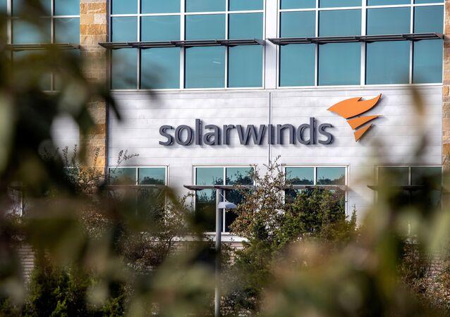 Logo da empresa SolarWinds no Texas, EUA