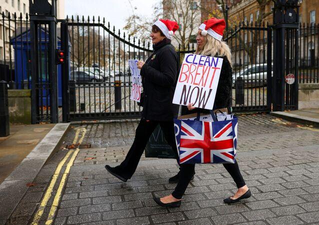 Apoiadoras do Brexit passeiam com placas em Londres, Reino Unido, em 9 de dezembro de 2020