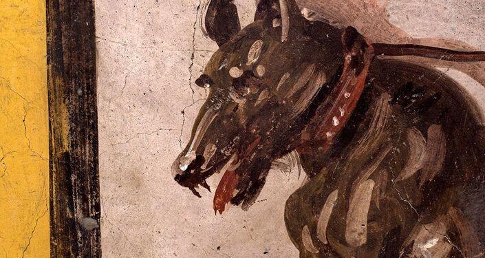 Afresco em um antigo balcão retratando um cachorro com coleira