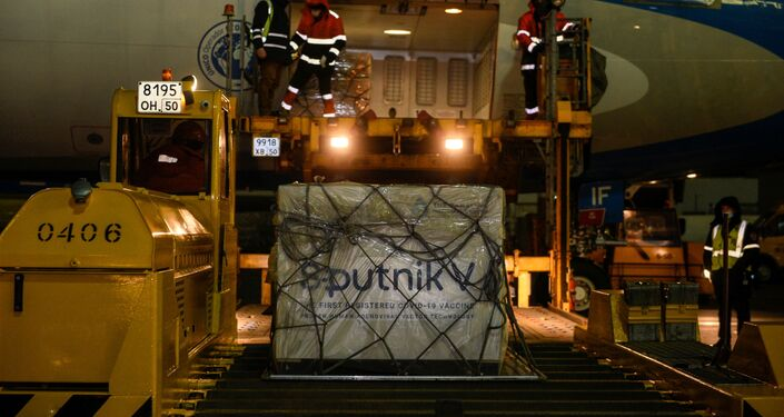 Doses da vacina Sputnik V contra coronavírus (COVID-19) são carregados em avião da Aerolineas Argentinas em aeroporto em Moscou