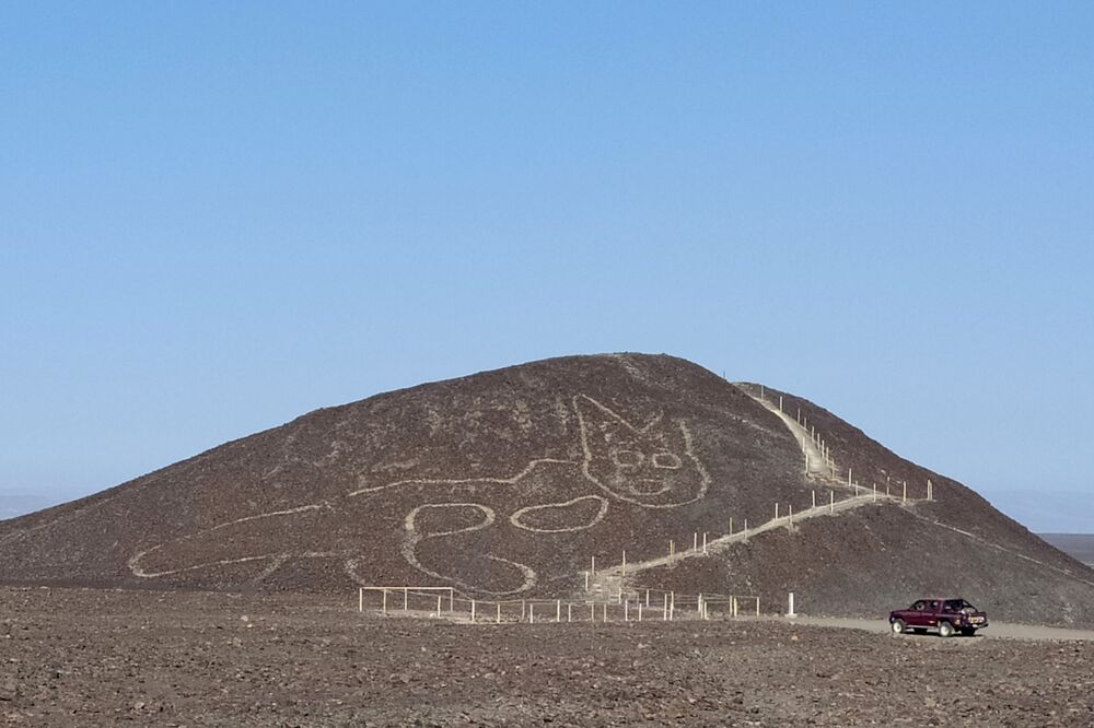 Arqueólogos do Ministério da Cultura do Peru descobriram um geoglifo em forma de gato nas misteriosas Linhas de Nazca, no Peru