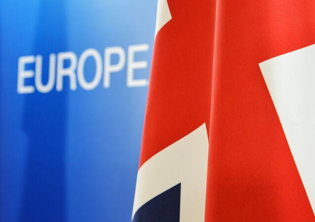 Bandeira do Reino Unido durante cúpula da UE em Bruxelas