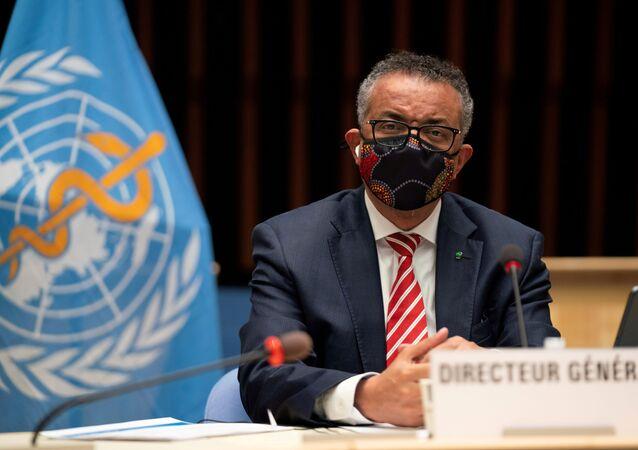O diretor-geral da OMS, Tedros Adhanom Ghebreyesus, em reunião sobre a pandemia da COVID-19 (arquivo)