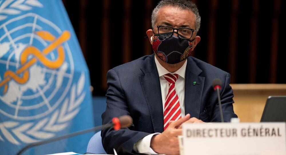O diretor-geral da OMS, Tedros Adhanom Ghebreyesus, em reunião sobre a pandemia da COVID-19.