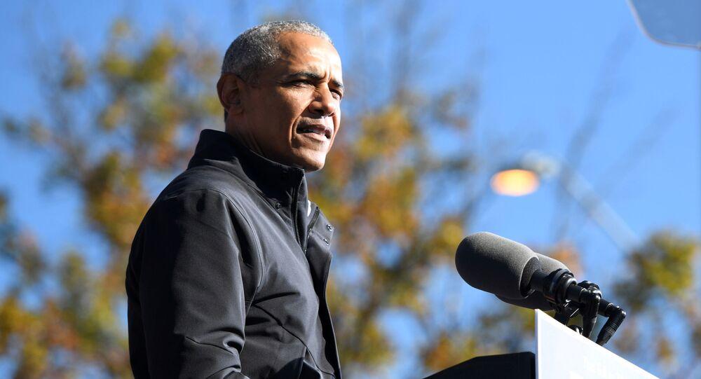 Barack Obama, ex-presidente dos EUA, discursa em Atlanta, Geórgia, EUA, 2 de novembro de 2020