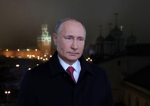 Presidente da Rússia, Vladimir Putin, durante seu discurso tradicional do Réveillon, 31 de dezembro de 2019