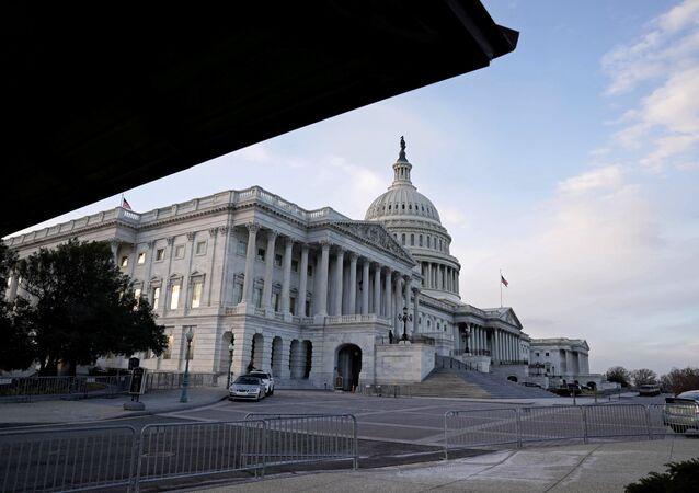 Panorama do Capitólio dos EUA, local de encontro do Congresso norte-americano, em Washington, EUA, 21 de dezembro de 2020