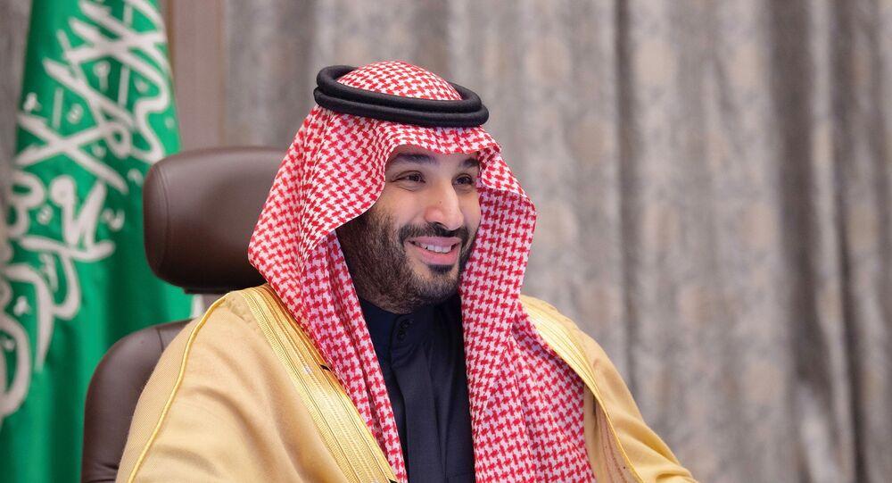 Príncipe herdeiro saudita, Mohammed bin Salman, durante reunião virtual com líderes do Bahrein, em Riad, Arábia Saudita, 24 de dezembro de 2020