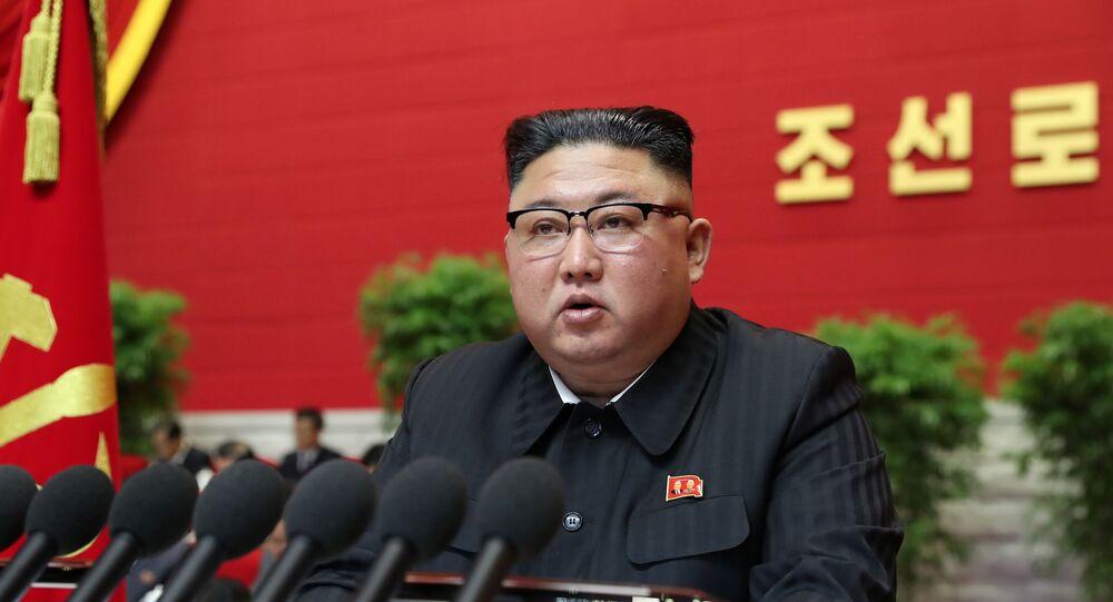 Líder norte-coreano, Kim Jong-un, discursa em congresso em Pyongyang, Coreia do Norte, 6 de janeiro de 2021