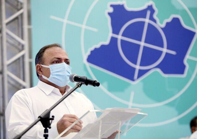 O ministro da Saúde, Eduardo Pazuello, durante a apresentação do Plano Estratégico de Enfrentamento à COVID-19 no Amazonas