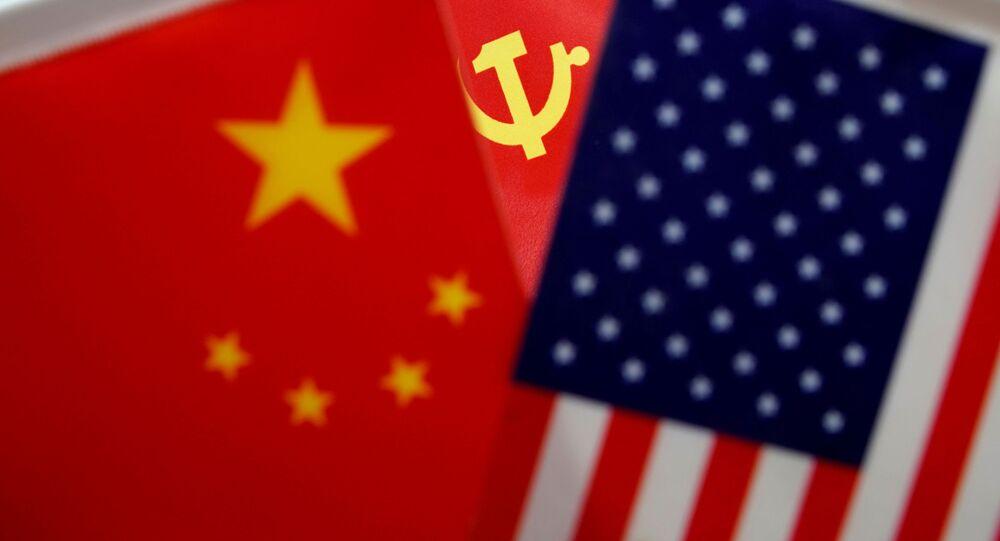 Bandeira da China, do partido comunista chinês e dos EUA