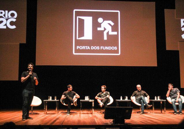 Grupo Porta dos Fundos participa de painel no Rio Creative Conference (Rio2C), 7 de abril de 2018 (foto de arquivo)