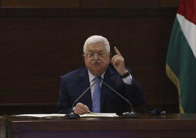 Mahmoud Abbas, presidente palestino, fala em reunião na cidade de Ramallah, Cisjordânia, 3 de setembro de 2020