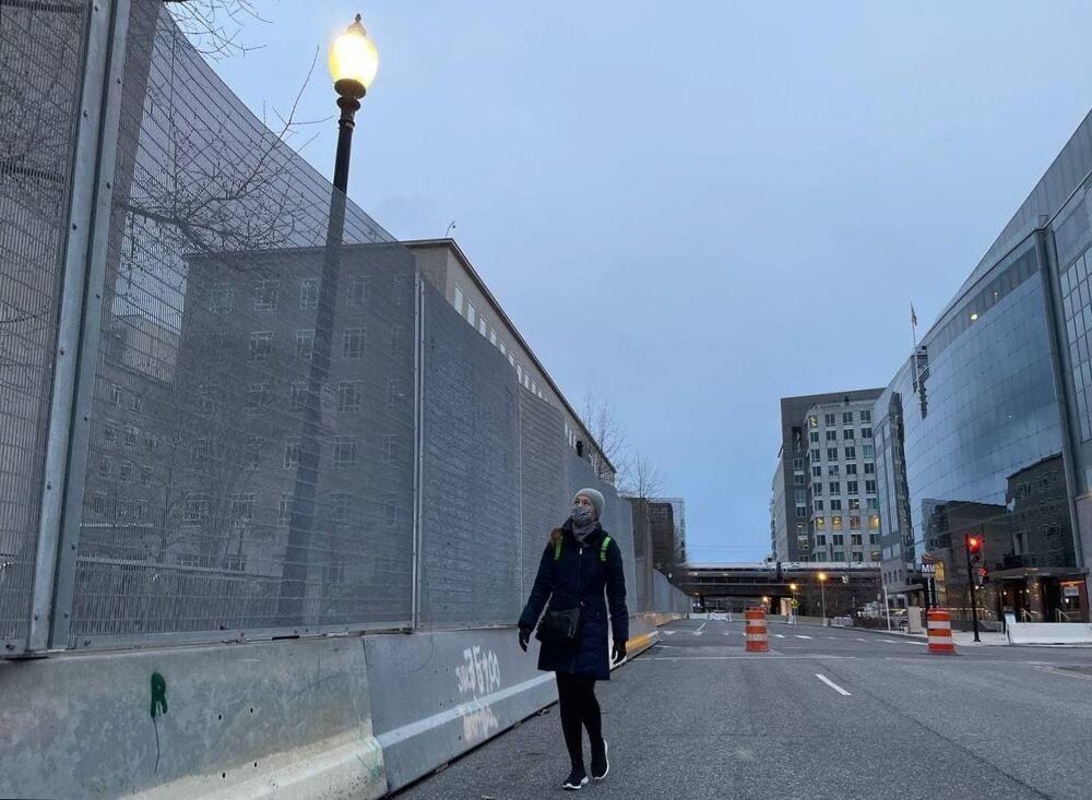 Rua fechada para a tomada de posse do presidente eleito democrata Joe Biden em 20 de janeiro de 2021, Washington, EUA