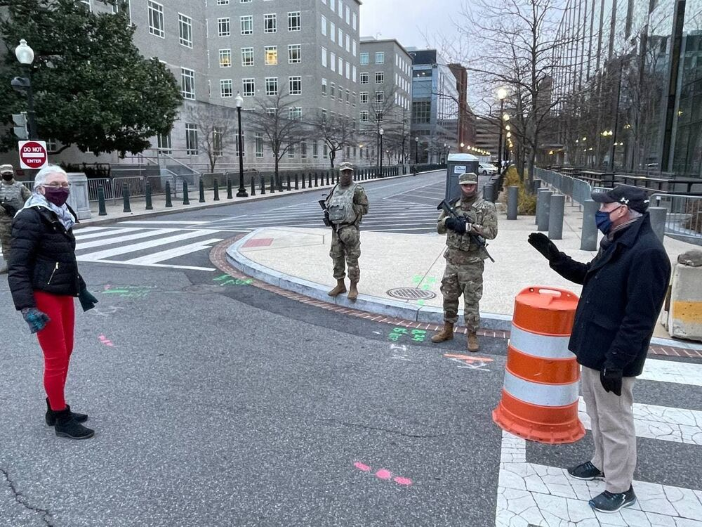 Soldados da Guarda Nacional em serviço dias antes da tomada de posse de Joe Biden, Washington, EUA.