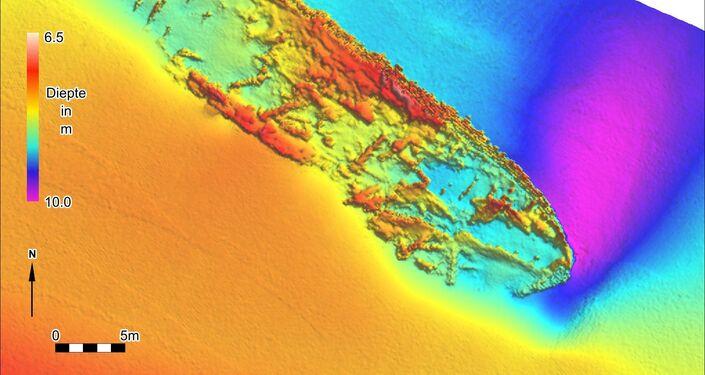 Varredura de um sonar do navio britânico HMS Apollo