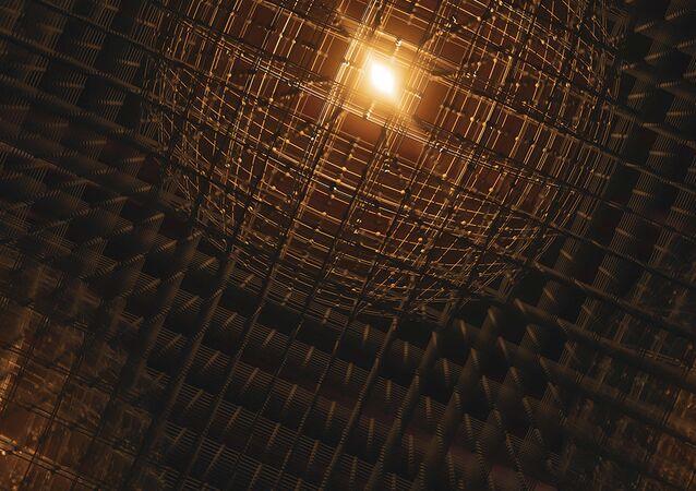 Representação artística da distorção produzida em uma rede cristalina ao passo de um elétron