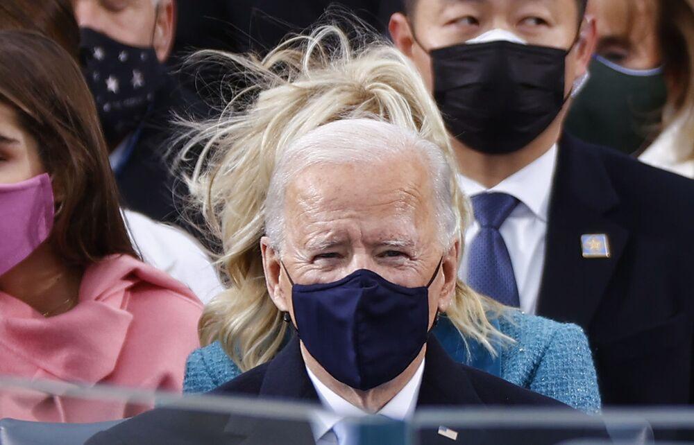 Presidente eleito Joe Biden durante sua cerimônia de posse como 46º presidente dos EUA, 20 de janeiro de 2021
