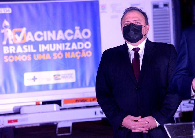 Eduardo Pazuello, ministro da Saúde do Brasil, no Aeroporto Internacional Tom Jobim (Galeão), no Rio de Janeiro, nesta sexta-feira, 22 de janeiro de 2021