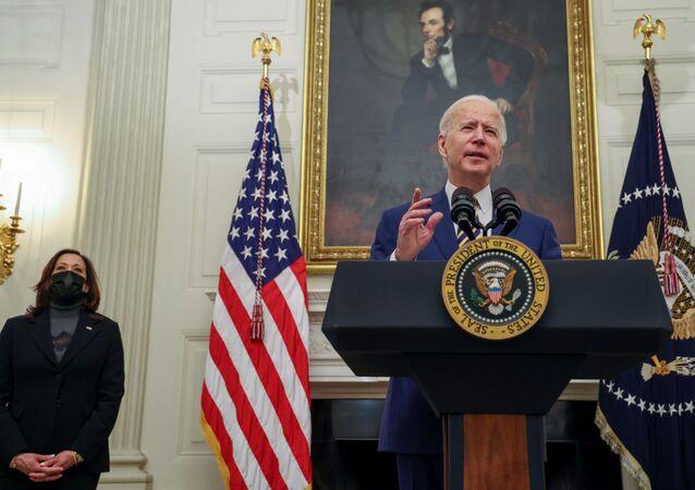 Joe Biden, presidente dos EUA, fala durante evento na Casa Branca em Washington, EUA, 22 de janeiro de 2021
