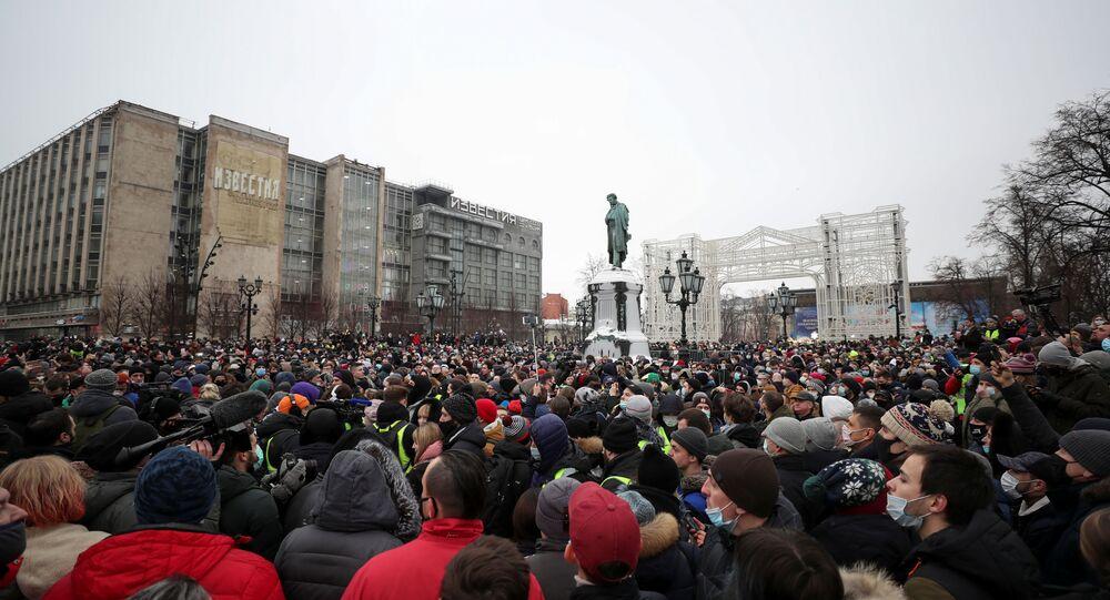 Panorama de manifestação de apoio ao oposicionista Aleksei Navalny em Moscou, Rússia, 23 de janeiro de 2021