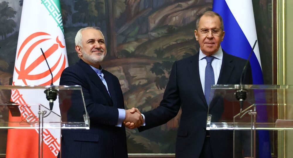 Reunião do ministro das Relações Exteriores russo, Sergei Lavrov, com seu homólogo iraniano Mohammad Javad Zarif, 26 de janeiro de 2021