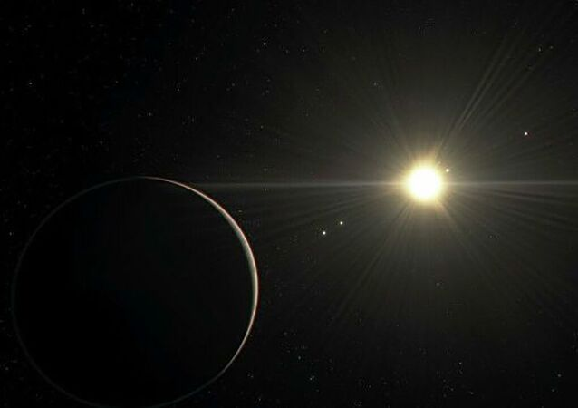 Representação artística do sistema planetário TOI-178 do ponto de vista do planeta mais distante