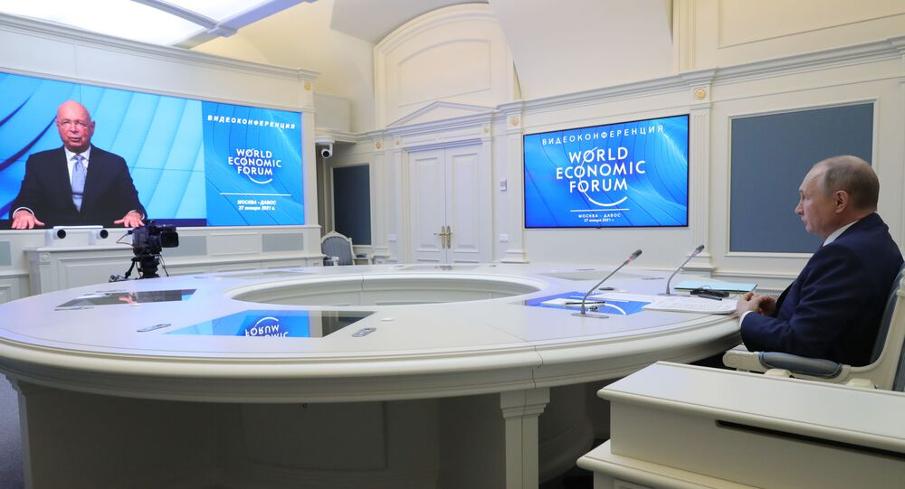 Presidente da Rússia, Vladimir Putin, durante videoconferência do Fórum Econômico Mundial de Davos