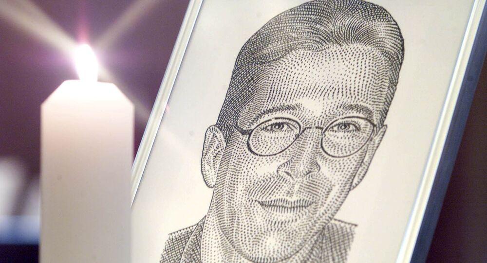 Retrato de Daniel Pearl, repórter do jornal americano The Wall Street Journal assassinado em 2002