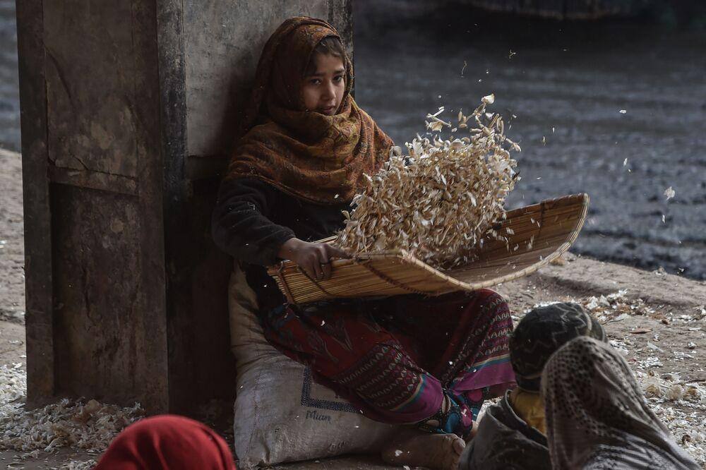 Criança descasca alho no mercado de Lahore, Paquistão, 24 de janeiro de 2021