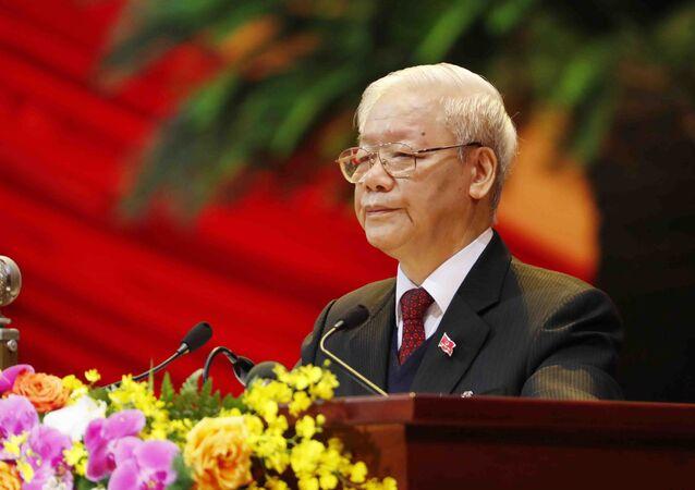 Em Hanói, capital do Vietnã, o secretário-geral do Partido Comunista vietnamita, Nguyen Phu Trong, discursa durante o 13º Congresso do partido, em 26 de janeiro de 2021