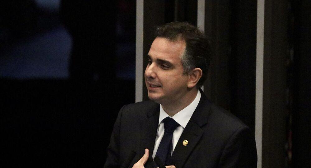 Presidente do Senado, Rodrigo Pacheco, durante a reunião no Senado Federal