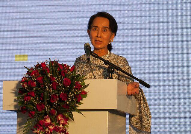 A líder do governo civil deposto de Mianmar, Aung San Suu Kyi