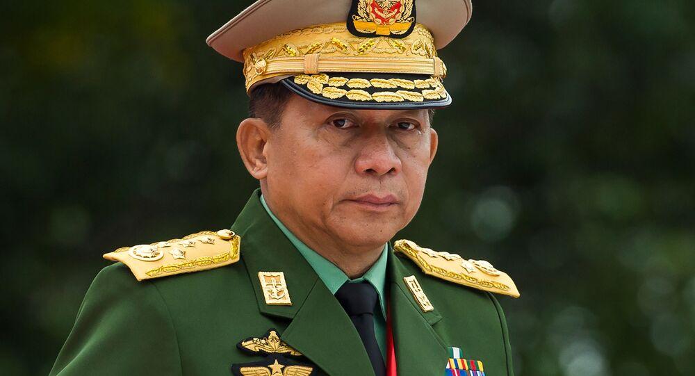 O comandante em chefe das Forças Armadas de Mianmar, general-sênior Min Aung Hlaing