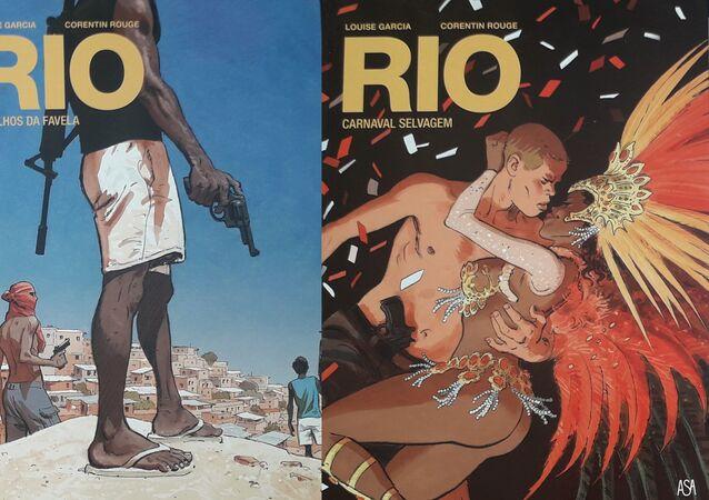 Capas de dois volumes da coleção 'Rio', vendida em Portugal