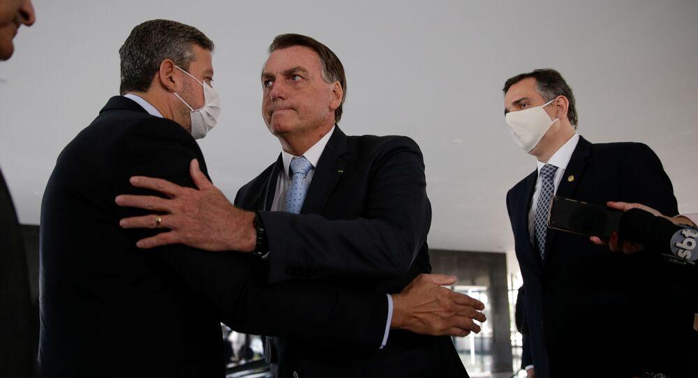 O presidente brasileiro, Jair Bolsonaro, com o presidente da Câmara dos Deputados, Arthur Lira, e do Senado, Rodrigo Pacheco, em Brasília