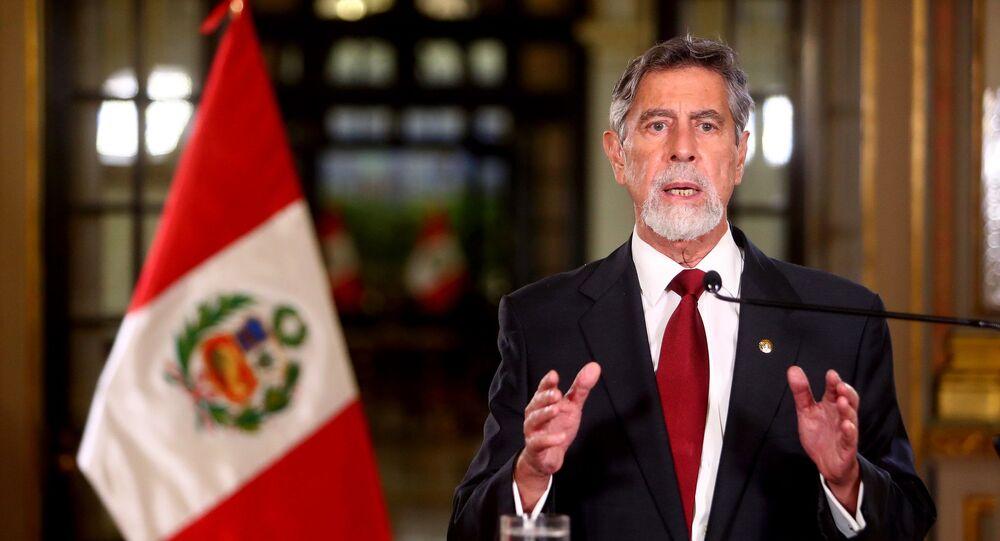 O presidente do Peru, Francisco Sagasti